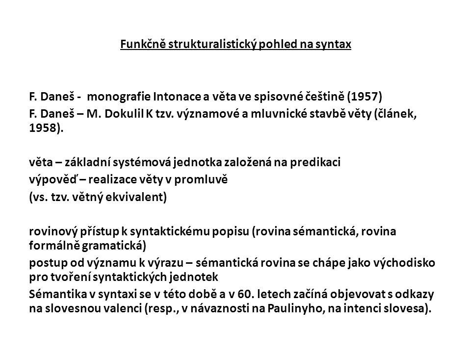 Funkčně strukturalistický pohled na syntax F. Daneš - monografie Intonace a věta ve spisovné češtině (1957) F. Daneš – M. Dokulil K tzv. významové a m