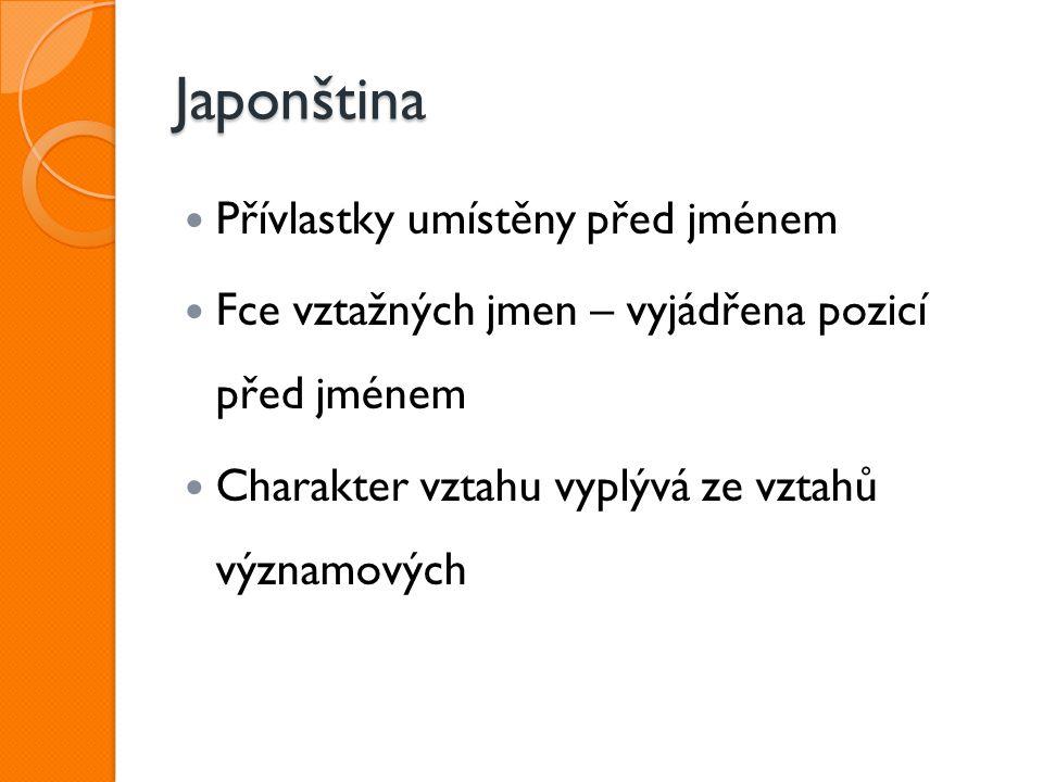 Japonština Přívlastky umístěny před jménem Fce vztažných jmen – vyjádřena pozicí před jménem Charakter vztahu vyplývá ze vztahů významových