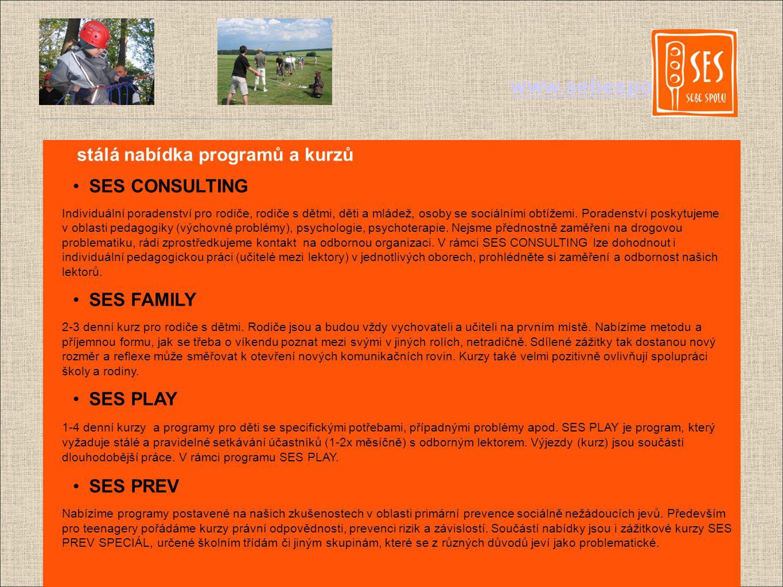 www.sebespolu.net stálá nabídka programů a kurzů SES CONSULTING Individuální poradenství pro rodiče, rodiče s dětmi, děti a mládež, osoby se sociálními obtížemi.