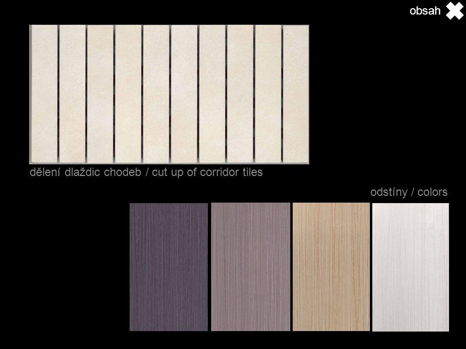 dělení dlaždic chodeb / cut up of corridor tiles odstíny / colors obsah