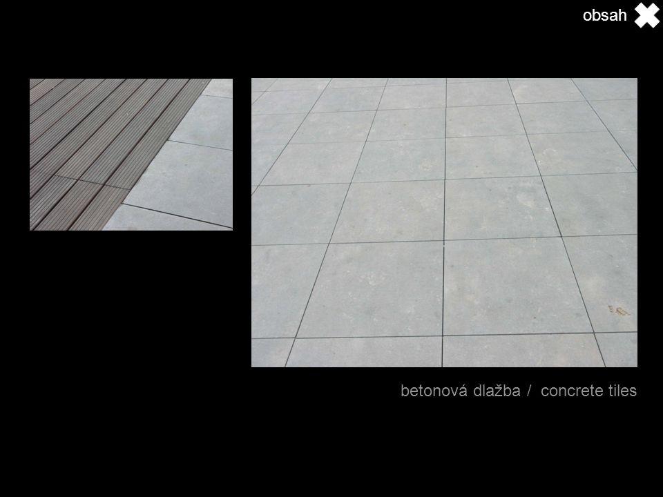 betonová dlažba / concrete tiles obsah