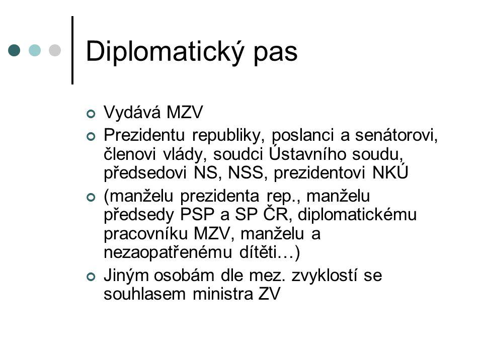 Diplomatický pas Vydává MZV Prezidentu republiky, poslanci a senátorovi, členovi vlády, soudci Ústavního soudu, předsedovi NS, NSS, prezidentovi NKÚ (