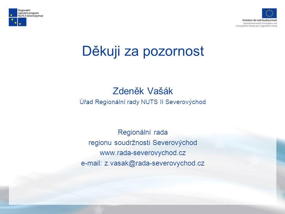 Děkuji za pozornost Zdeněk Vašák Úřad Regionální rady NUTS II Severovýchod Regionální rada regionu soudržnosti Severovýchod www.rada-severovychod.cz e-mail: z.vasak@rada-severovychod.cz