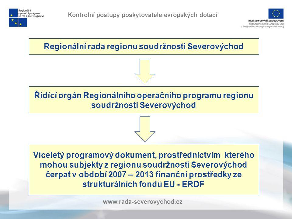 www.rada-severovychod.cz Kontrolní postupy poskytovatele evropských dotací Regionální rada regionu soudržnosti Severovýchod Řídící orgán Regionálního operačního programu regionu soudržnosti Severovýchod Víceletý programový dokument, prostřednictvím kterého mohou subjekty z regionu soudržnosti Severovýchod čerpat v období 2007 – 2013 finanční prostředky ze strukturálních fondů EU - ERDF