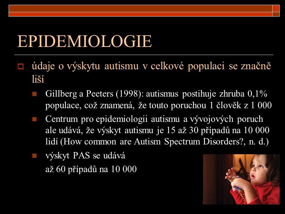 EPIDEMIOLOGIE  údaje o výskytu autismu v celkové populaci se značně liší Gillberg a Peeters (1998): autismus postihuje zhruba 0,1% populace, což znam