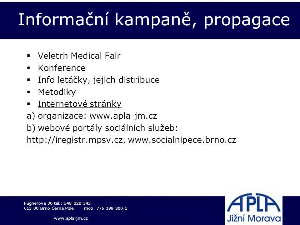 Informační kampaně, propagace  Veletrh Medical Fair  Konference  Info letáčky, jejich distribuce  Metodiky  Internetové stránky a)organizace: www