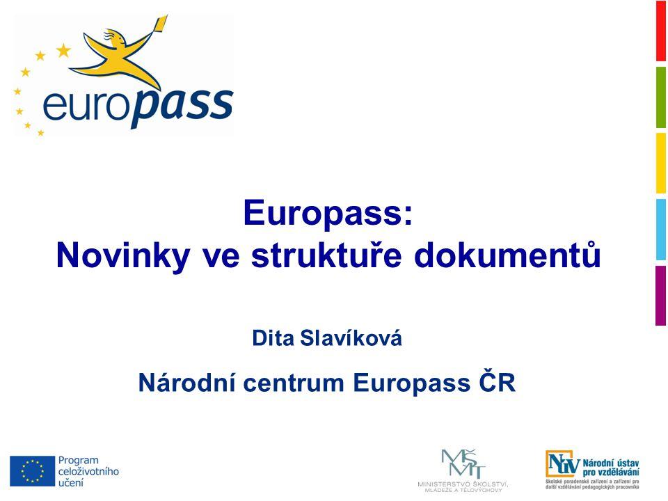 Dita Slavíková Národní centrum Europass ČR Europass: Novinky ve struktuře dokumentů