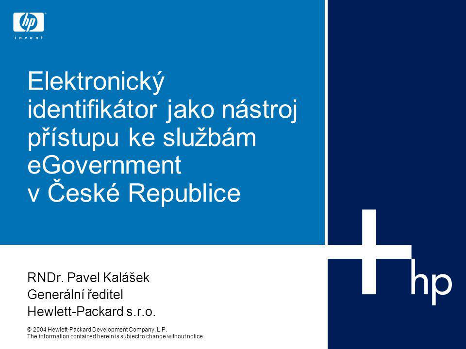 © 2004 Hewlett-Packard Development Company, L.P. The information contained herein is subject to change without notice Elektronický identifikátor jako