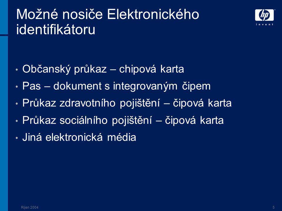 Rijen 20045 Možné nosiče Elektronického identifikátoru Občanský průkaz – chipová karta Pas – dokument s integrovaným čipem Průkaz zdravotního pojištění – čipová karta Průkaz sociálního pojištění – čipová karta Jiná elektronická média
