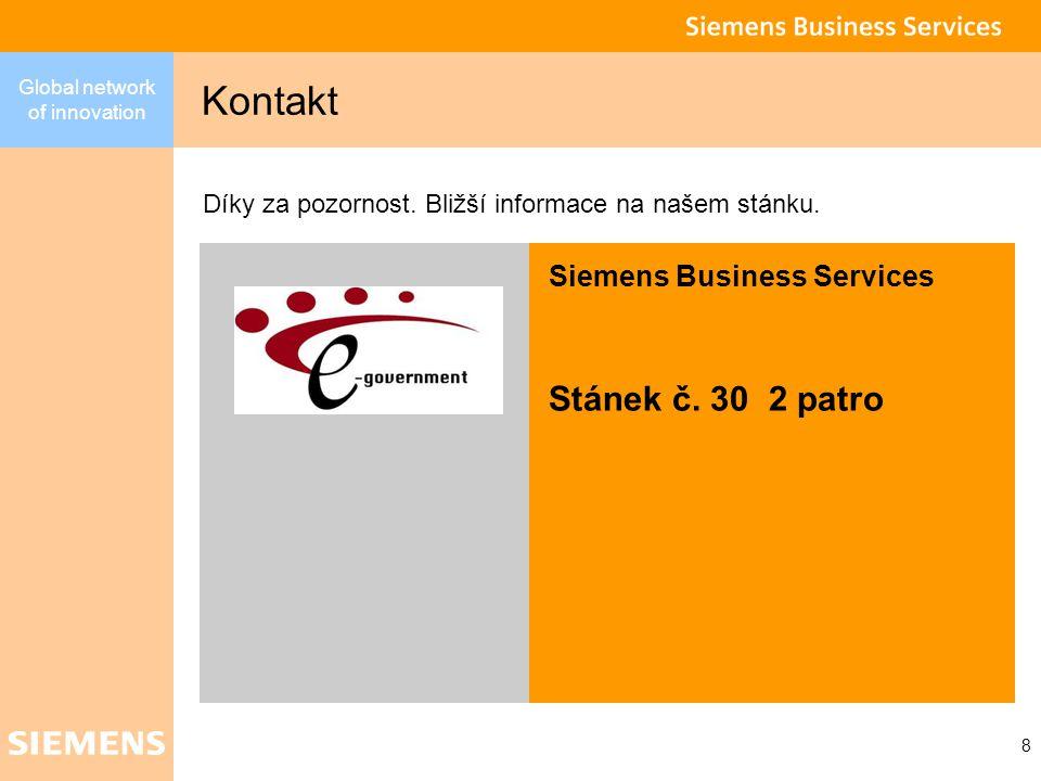 Global network of innovation 8 Kontakt Díky za pozornost.