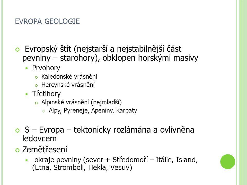 EVROPA GEOLOGIE Evropský štít (nejstarší a nejstabilnější část pevniny – starohory), obklopen horskými masivy Prvohory Kaledonské vrásnění Hercynské v