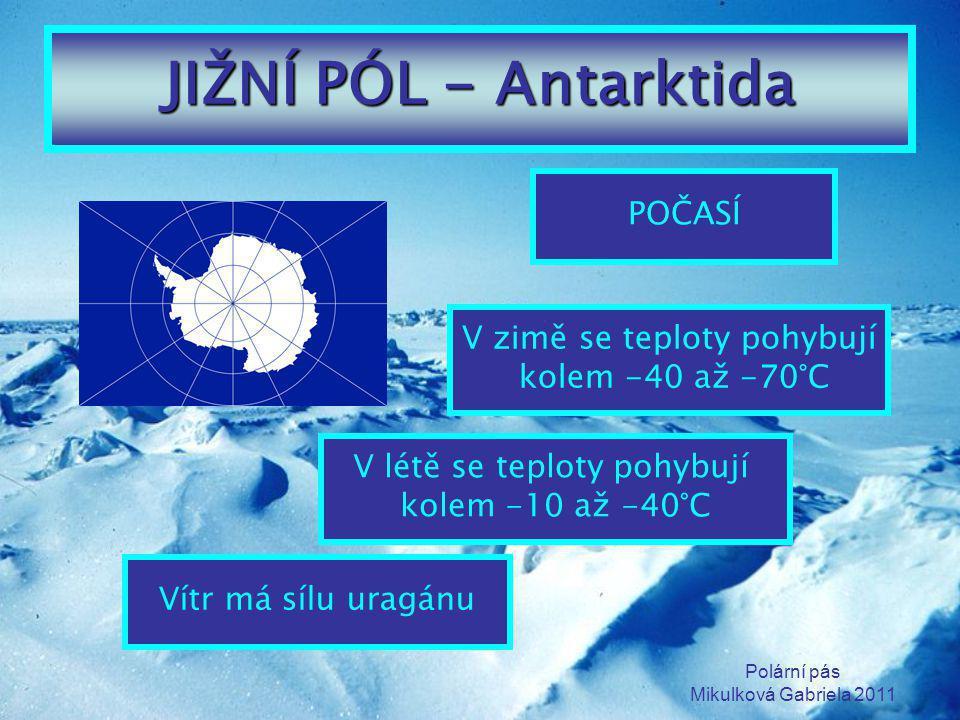 Polární pás Mikulková Gabriela 2011 JIŽNÍ PÓL - Antarktida POČASÍ V létě se teploty pohybují kolem -10 až -40°C V zimě se teploty pohybují kolem -40 a