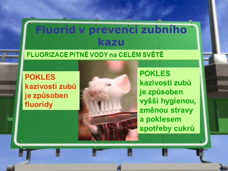 Fluorid v prevenci zubního kazu FLUORIZACE PITNÉ VODY na CELÉM SVĚTĚ POKLES kazivosti zubů je způsoben fluoridy POKLES kazivosti zubů je způsoben vyšš