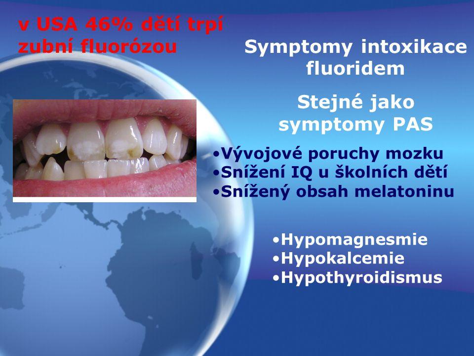 v USA 46% dětí trpí zubní fluorózou Vývojové poruchy mozku Snížení IQ u školních dětí Snížený obsah melatoninu Symptomy intoxikace fluoridem Stejné ja