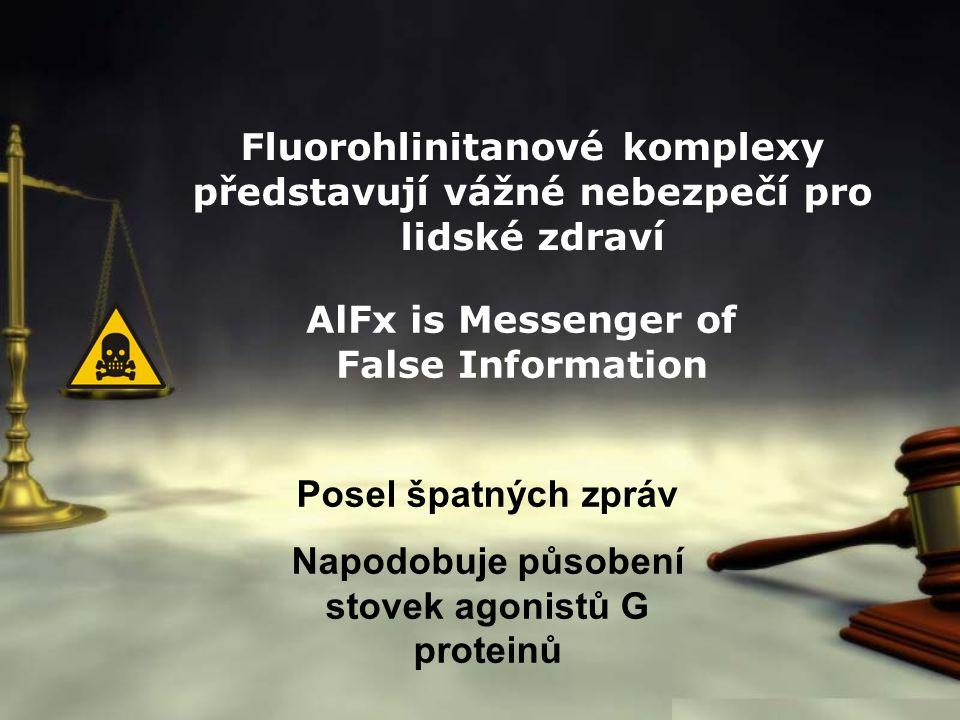 Fluorohlinitanové komplexy představují vážné nebezpečí pro lidské zdraví AlFx is Messenger of False Information Posel špatných zpráv Napodobuje působe