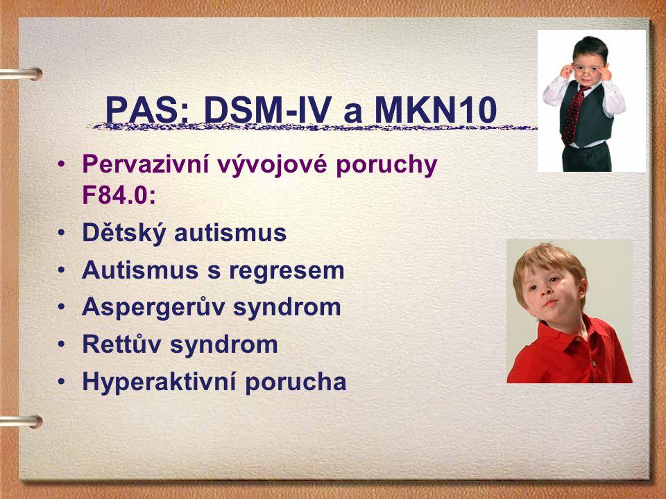 PAS: DSM-IV a MKN10 Pervazivní vývojové poruchy F84.0: Dětský autismus Autismus s regresem Aspergerův syndrom Rettův syndrom Hyperaktivní porucha