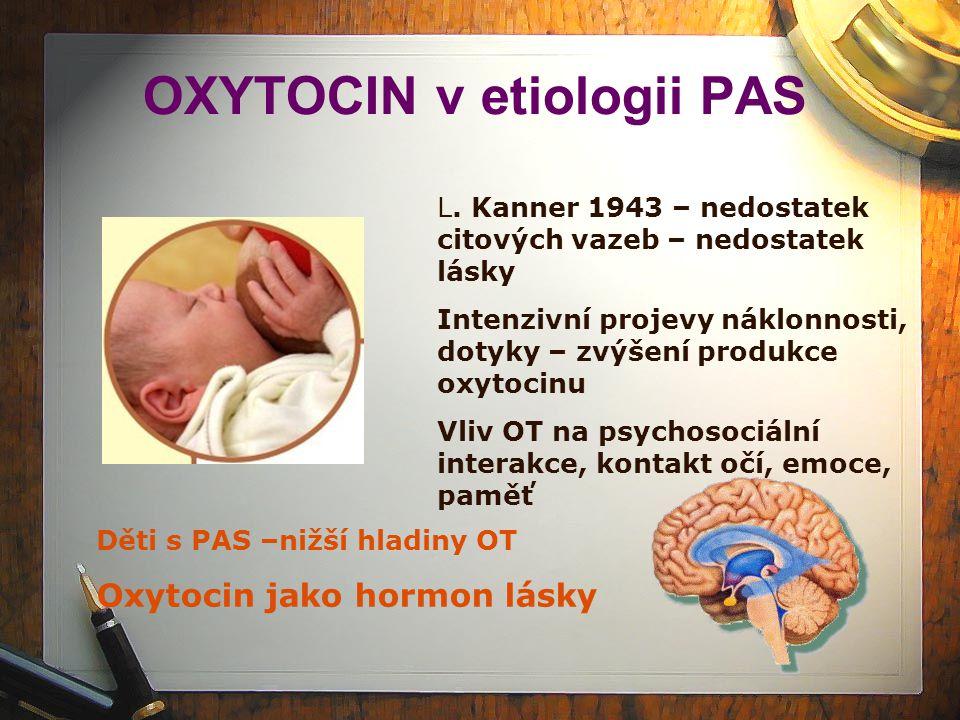 OXYTOCIN v etiologii PAS L. Kanner 1943 – nedostatek citových vazeb – nedostatek lásky Intenzivní projevy náklonnosti, dotyky – zvýšení produkce oxyto