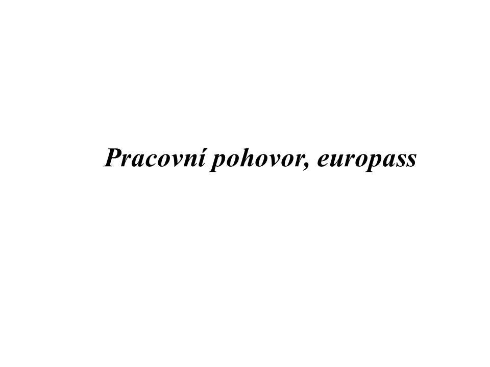 Podklady k přijetí pracovníka Životopis Motivační dopis Pracovní pohovor Europass