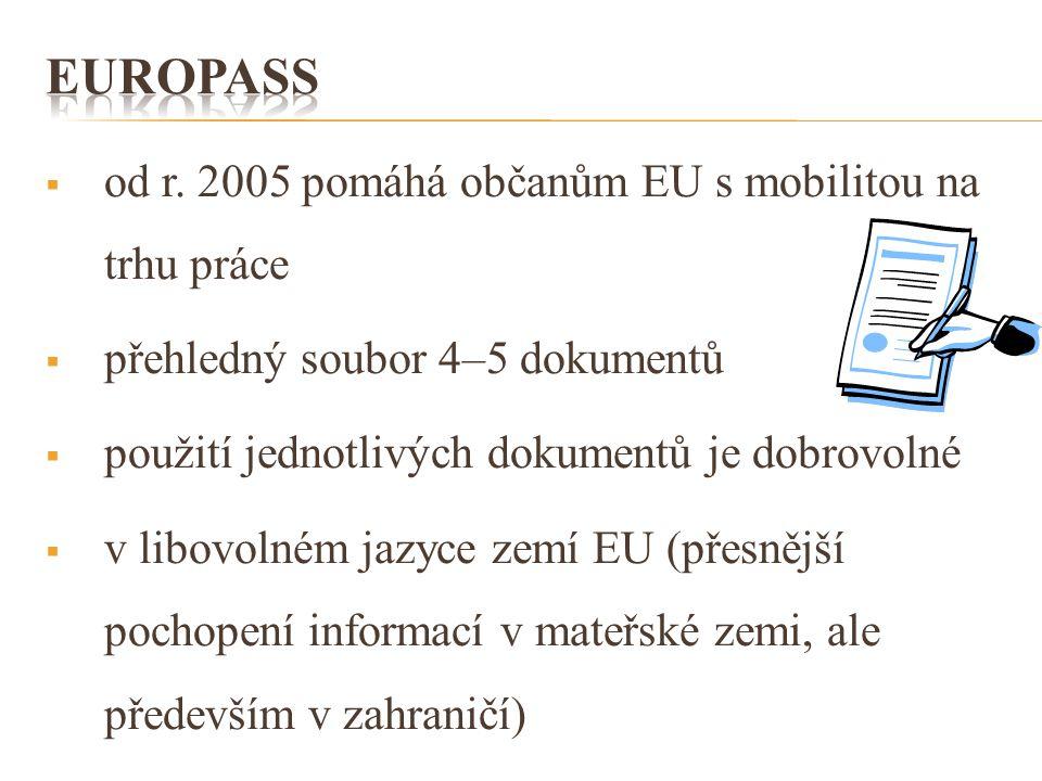  od r. 2005 pomáhá občanům EU s mobilitou na trhu práce  přehledný soubor 4–5 dokumentů  použití jednotlivých dokumentů je dobrovolné  v libovolné