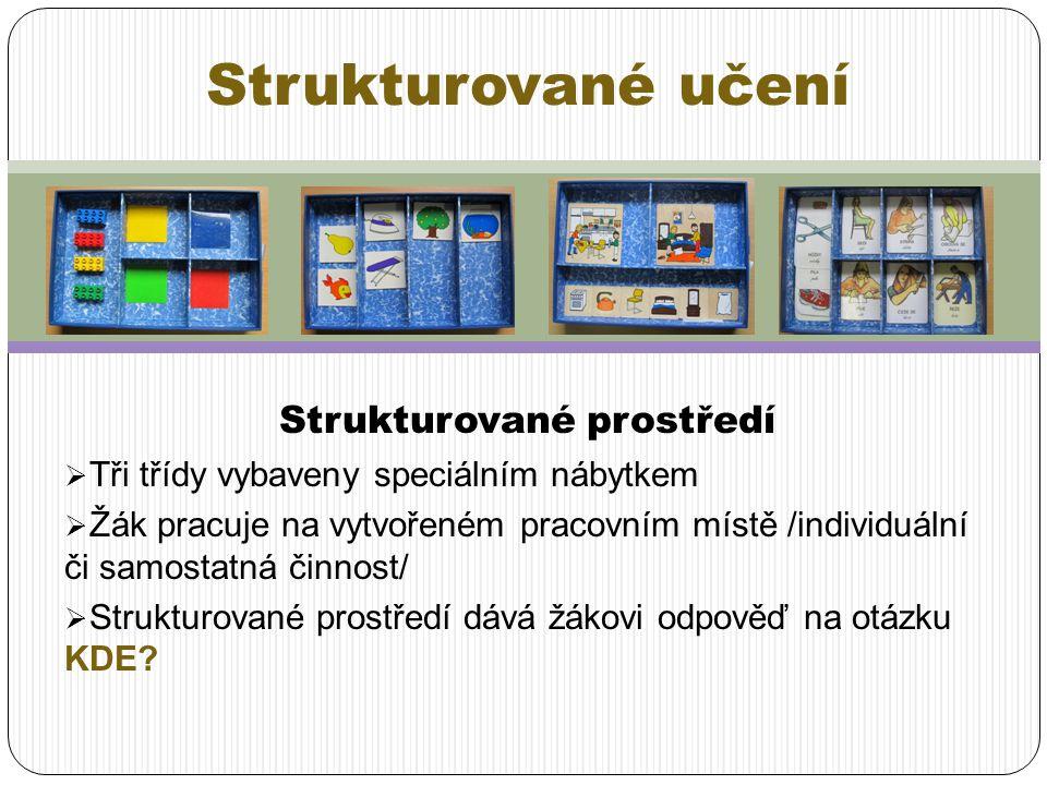 Strukturované prostředí  Tři třídy vybaveny speciálním nábytkem  Žák pracuje na vytvořeném pracovním místě /individuální či samostatná činnost/  St