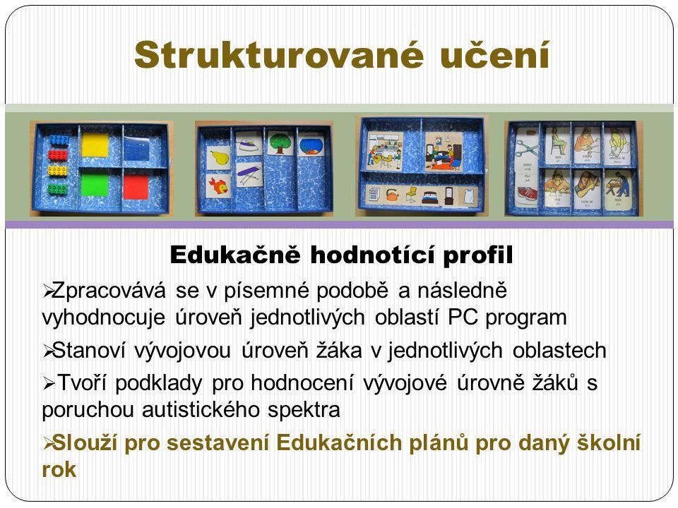 Edukačně hodnotící profil  Zpracovává se v písemné podobě a následně vyhodnocuje úroveň jednotlivých oblastí PC program  Stanoví vývojovou úroveň žá