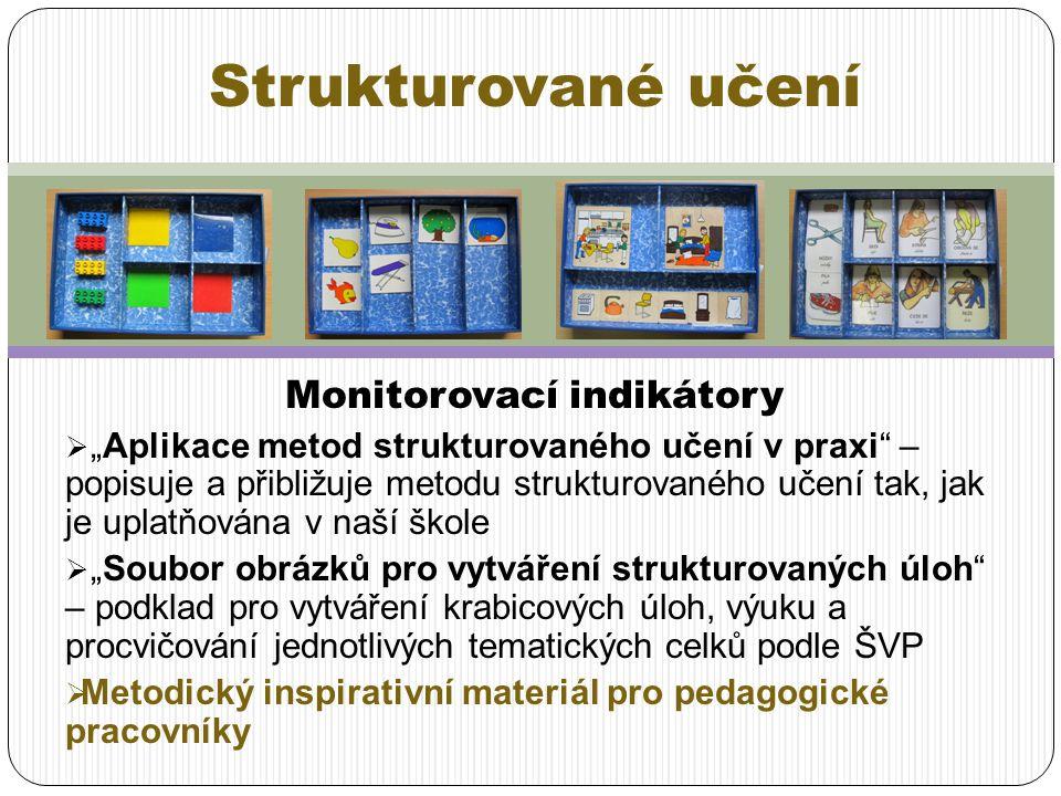 """Monitorovací indikátory  """"Aplikace metod strukturovaného učení v praxi"""" – popisuje a přibližuje metodu strukturovaného učení tak, jak je uplatňována"""