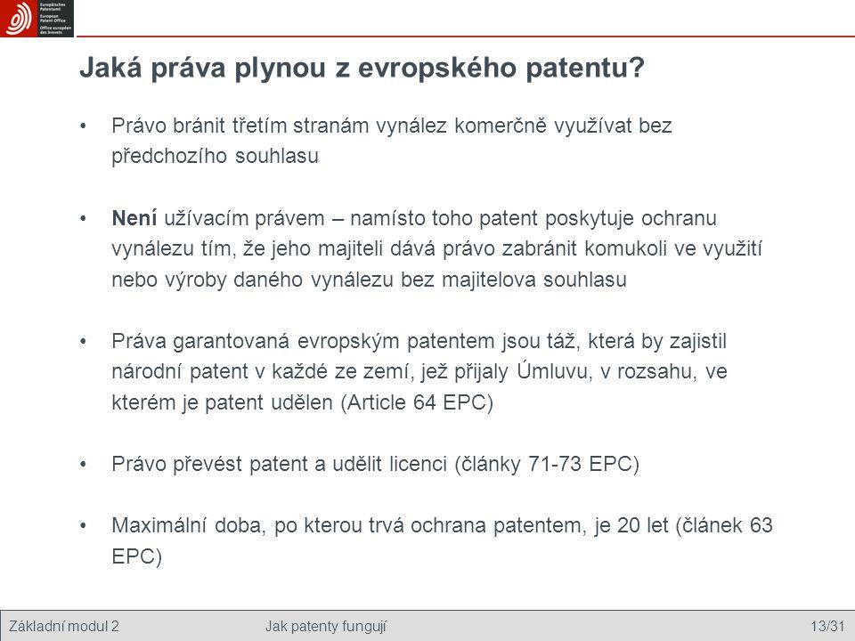 Základní modul 2Jak patenty fungují 13/31 Jaká práva plynou z evropského patentu? Právo bránit třetím stranám vynález komerčně využívat bez předchozíh