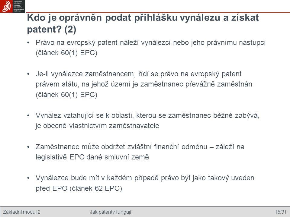 Základní modul 2Jak patenty fungují 15/31 Kdo je oprávněn podat přihlášku vynálezu a získat patent? (2) Právo na evropský patent náleží vynálezci nebo