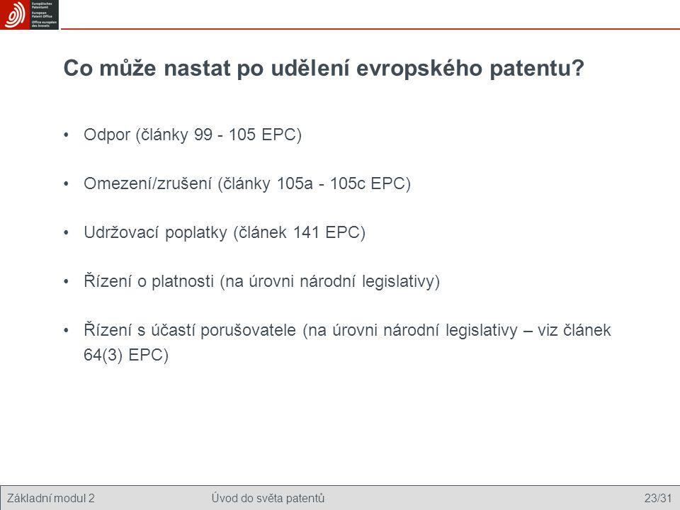 Základní modul 2Úvod do světa patentů 23/31 Co může nastat po udělení evropského patentu? Odpor (články 99 - 105 EPC) Omezení/zrušení (články 105a - 1