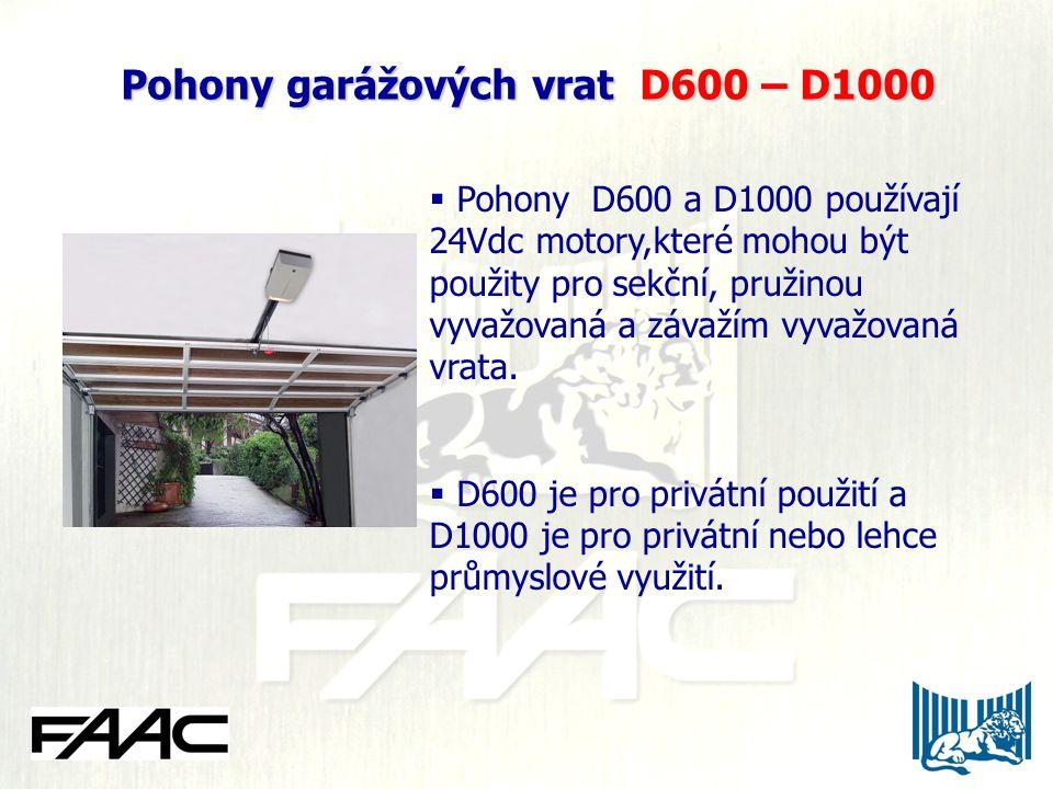 Pohony garážových vrat D600 – D1000  Pohony D600 a D1000 používají 24Vdc motory,které mohou být použity pro sekční, pružinou vyvažovaná a závažím vyvažovaná vrata.