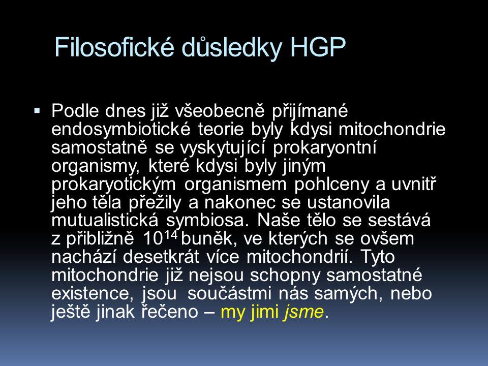 Filosofické důsledky HGP  Podle dnes již všeobecně přijímané endosymbiotické teorie byly kdysi mitochondrie samostatně se vyskytující prokaryontní organismy, které kdysi byly jiným prokaryotickým organismem pohlceny a uvnitř jeho těla přežily a nakonec se ustanovila mutualistická symbiosa.