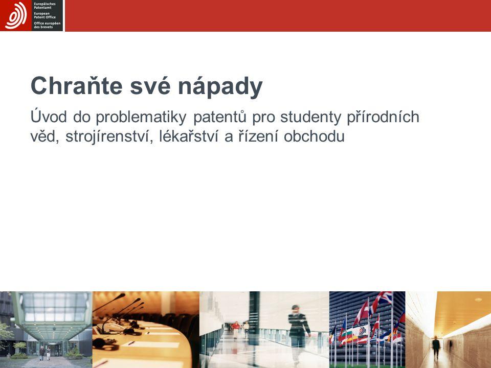Základní modul 1Chraňte své nápady 2/43 Výukové cíle Pochopit, co znamená duševní vlastnictví Zvážit klady a zápory přihlášky vynálezu –Pochopit, co je to patent –Know how vedoucí k získání patentu a související náklady –Porozumět způsobům využití patentů –Získat povědomí o alternativách k patentům Umět použít informace uvedené v patentech k získání cenných poznatků