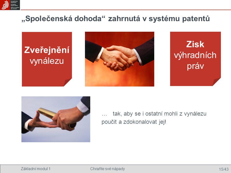"""Základní modul 1Chraňte své nápady 15/43 """"Společenská dohoda"""" zahrnutá v systému patentů Zveřejnění vynálezu Zisk výhradních práv …tak, aby se i ostat"""