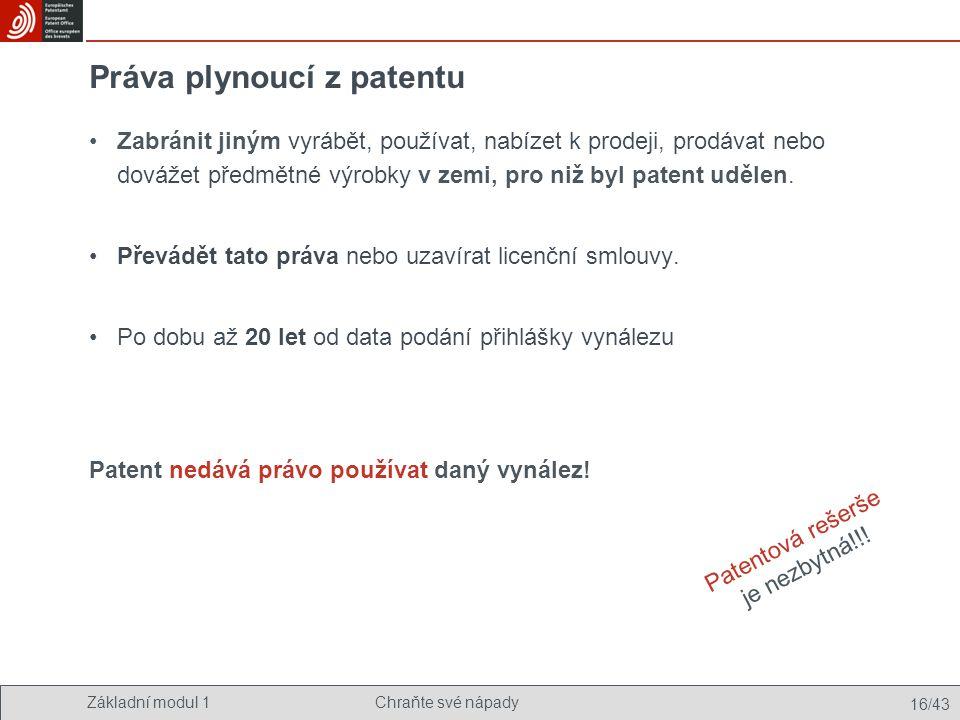 Základní modul 1Chraňte své nápady 16/43 Práva plynoucí z patentu Zabránit jiným vyrábět, používat, nabízet k prodeji, prodávat nebo dovážet předmětné