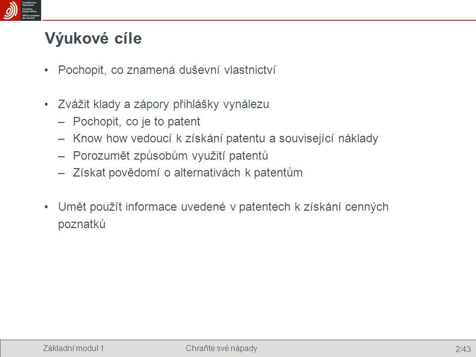 Základní modul 1Chraňte své nápady 33/43 Řízení ve věci přihlášky vynálezu Patentová strategie –ofenzivní/defenzivní –internacionalizace –způsob využití: licencování nebo vlastní využití Patentové informace –udržet krok s rozvojem technologie –zabránit porušení patentu –porozumět konkurenčnímu prostředí Komunikace –shromáždit přesvědčivé důkazy o tom, že patenty jsou cenné –informovat investory a banky, zákazníky i potenciální zaměstnance Udržování –platit udržovací poplatky, dodržovat lhůty –podpořit důležité patenty a zbavit se těch bez hodnoty Optional