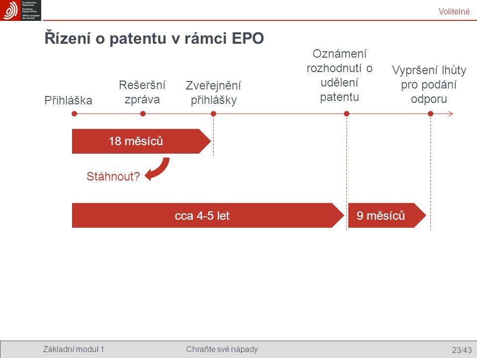 Základní modul 1Chraňte své nápady 23/43 Řízení o patentu v rámci EPO Přihláška Rešeršní zpráva Zveřejnění přihlášky Oznámení rozhodnutí o udělení pat