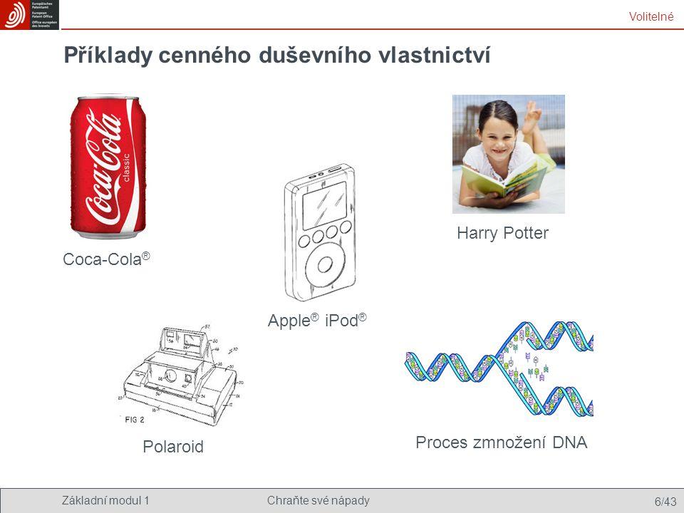 Základní modul 1Chraňte své nápady 6/43 Příklady cenného duševního vlastnictví Coca-Cola ® Apple ® iPod ® Volitelné Proces zmnožení DNA Harry Potter P