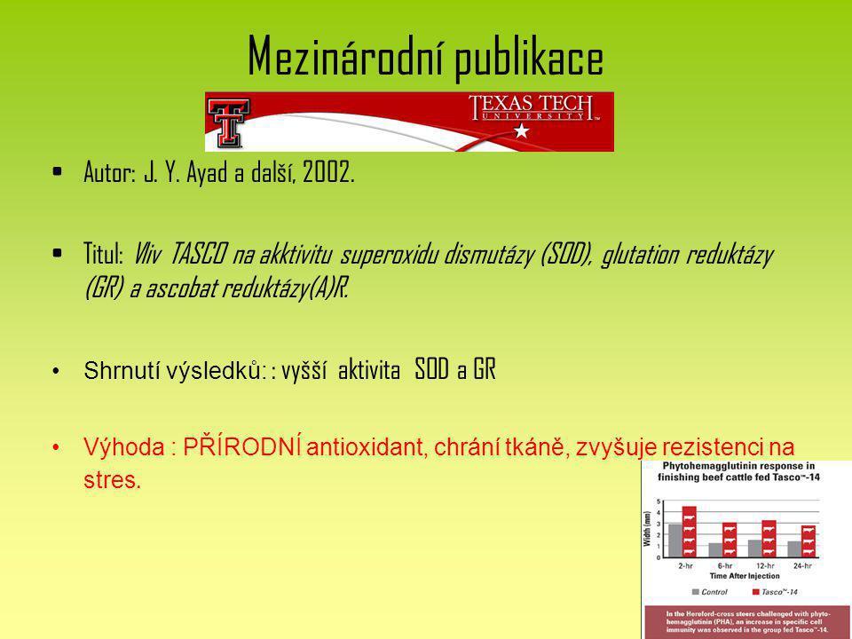 Mezinárodní publikace Autor: J. Y. Ayad a další, 2002. Titul: Vliv TASCO na akktivitu superoxidu dismutázy (SOD), glutation reduktázy (GR) a ascobat r