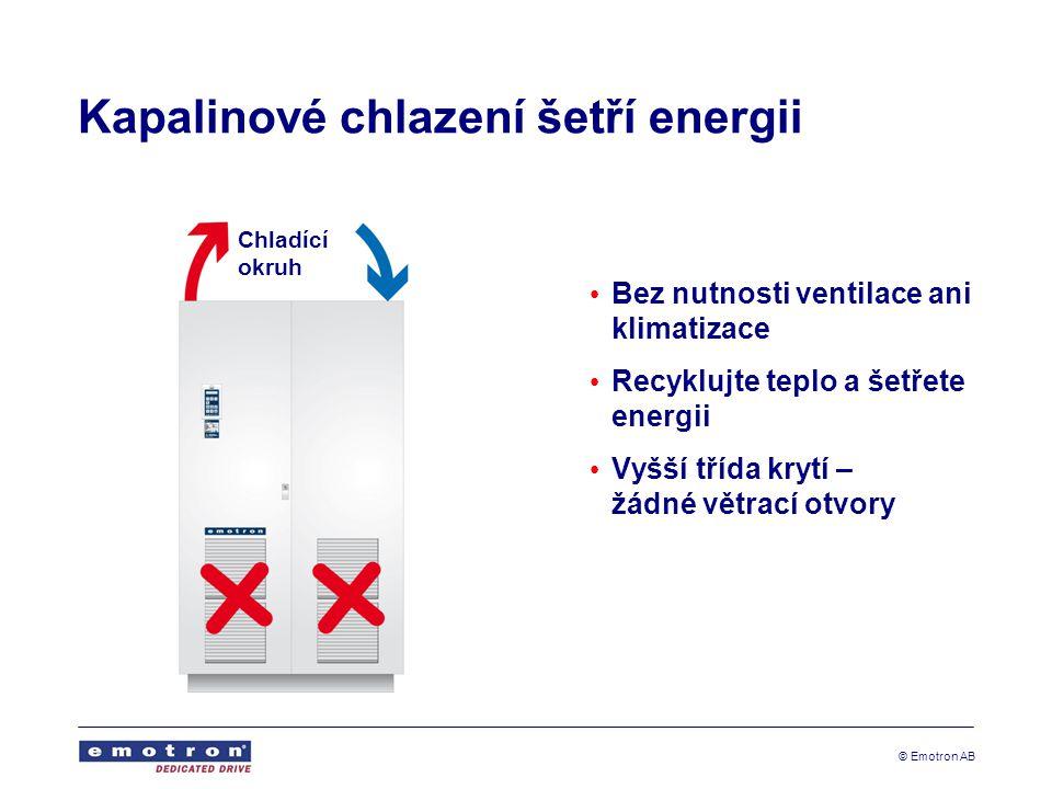 © Emotron AB Kapalinové chlazení šetří energii Bez nutnosti ventilace ani klimatizace Recyklujte teplo a šetřete energii Vyšší třída krytí – žádné větrací otvory Chladící okruh