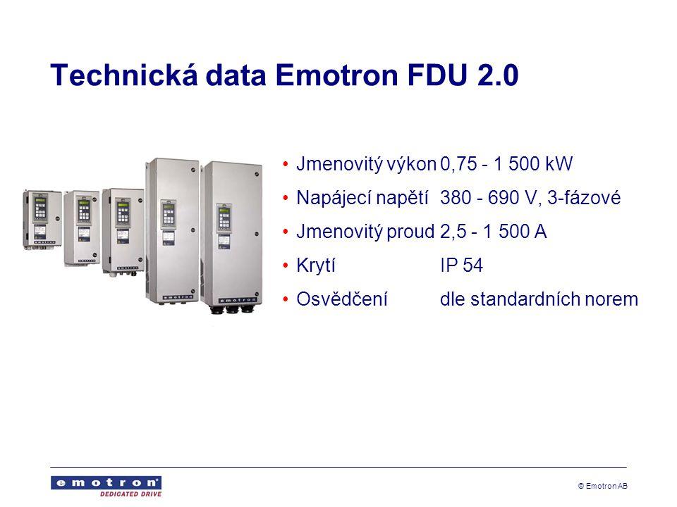 © Emotron AB Technická data Emotron FDU 2.0 Jmenovitý výkon0,75 - 1 500 kW Napájecí napětí380 - 690 V, 3-fázové Jmenovitý proud2,5 - 1 500 A KrytíIP 54 Osvědčenídle standardních norem