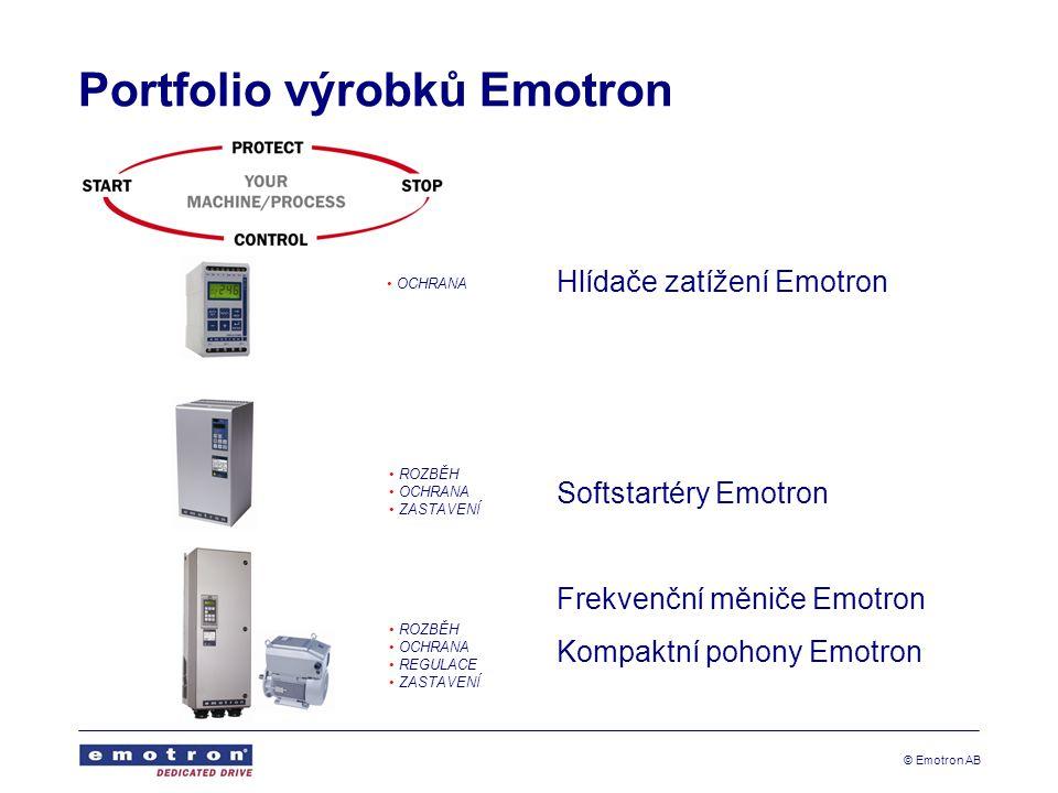 © Emotron AB Portfolio výrobků Emotron Hlídače zatížení Emotron Softstartéry Emotron Frekvenční měniče Emotron Kompaktní pohony Emotron OCHRANA ROZBĚH OCHRANA ZASTAVENÍ ROZBĚH OCHRANA REGULACE ZASTAVENÍ