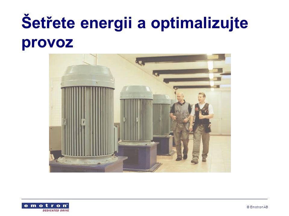 © Emotron AB Nižší náklady a méně prostojů Snížení nákladů na údržbu a méně prostojů Podrobná poruchová hlášení zjednodušují detekci poruch Méně náhradních dílů a lepší přístupnost Výklopná mechanika u výkonových modulů Chladící ventilátory s regulací rychlosti - snadno demontovatelné