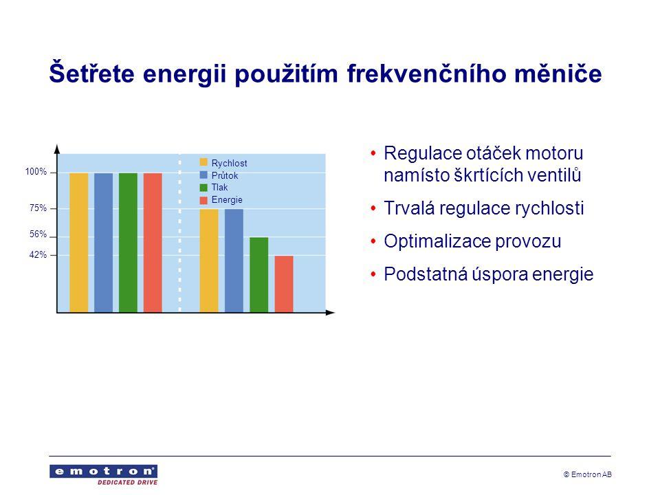 © Emotron AB Šetřete energii použitím frekvenčního měniče Regulace otáček motoru namísto škrtících ventilů Trvalá regulace rychlosti Optimalizace provozu Podstatná úspora energie Rychlost Průtok Tlak Energie 100% 75% 56% 42%