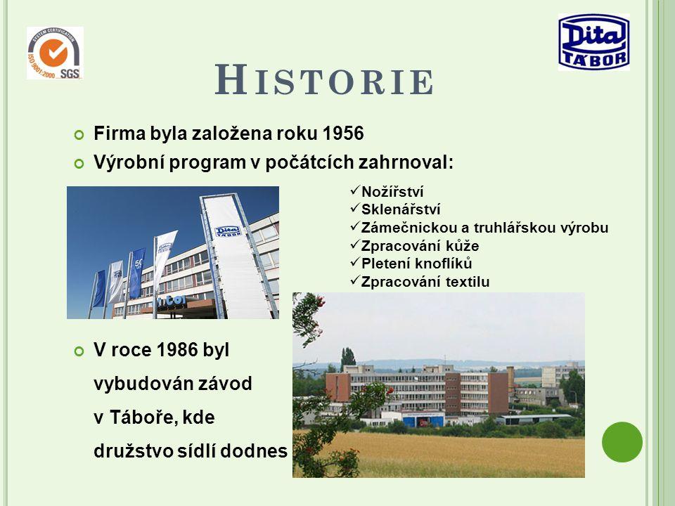 H ISTORIE Firma byla založena roku 1956 Výrobní program v počátcích zahrnoval: N ožířství Sklenářství Zámečnickou a truhlářskou výrobu Zpracování kůže Pletení knoflíků Zpracování textilu V roce 1986 byl vybudován závod v Táboře, kde družstvo sídlí dodnes