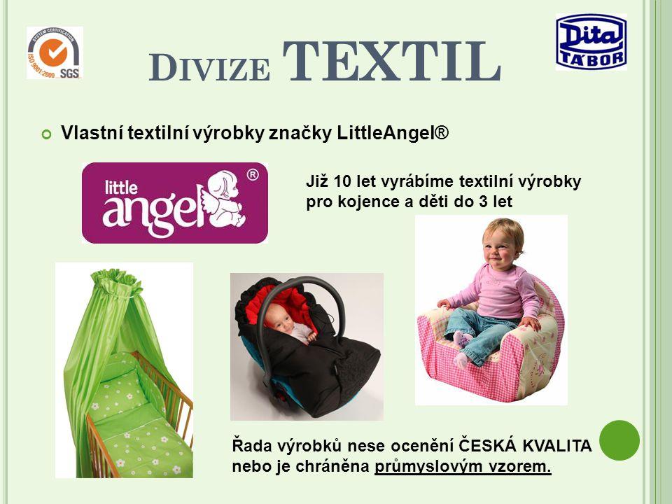 Vlastní textilní výrobky značky LittleAngel® D IVIZE TEXTIL Již 10 let vyrábíme textilní výrobky pro kojence a děti do 3 let Řada výrobků nese ocenění ČESKÁ KVALITA nebo je chráněna průmyslovým vzorem.