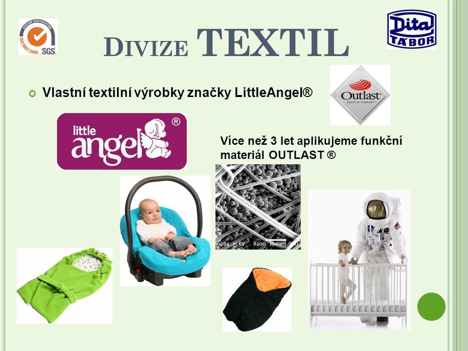 Vlastní textilní výrobky značky LittleAngel® D IVIZE TEXTIL Více než 3 let aplikujeme funkční materiál OUTLAST ®