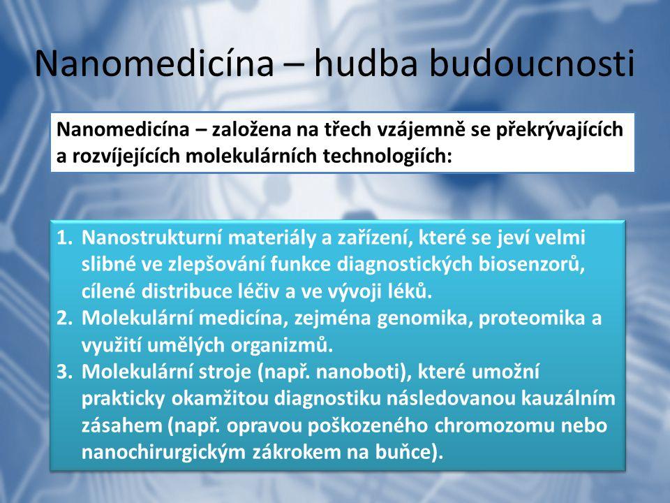Nanomedicína – hudba budoucnosti Nanomedicína – založena na třech vzájemně se překrývajících a rozvíjejících molekulárních technologiích: 1.Nanostrukt