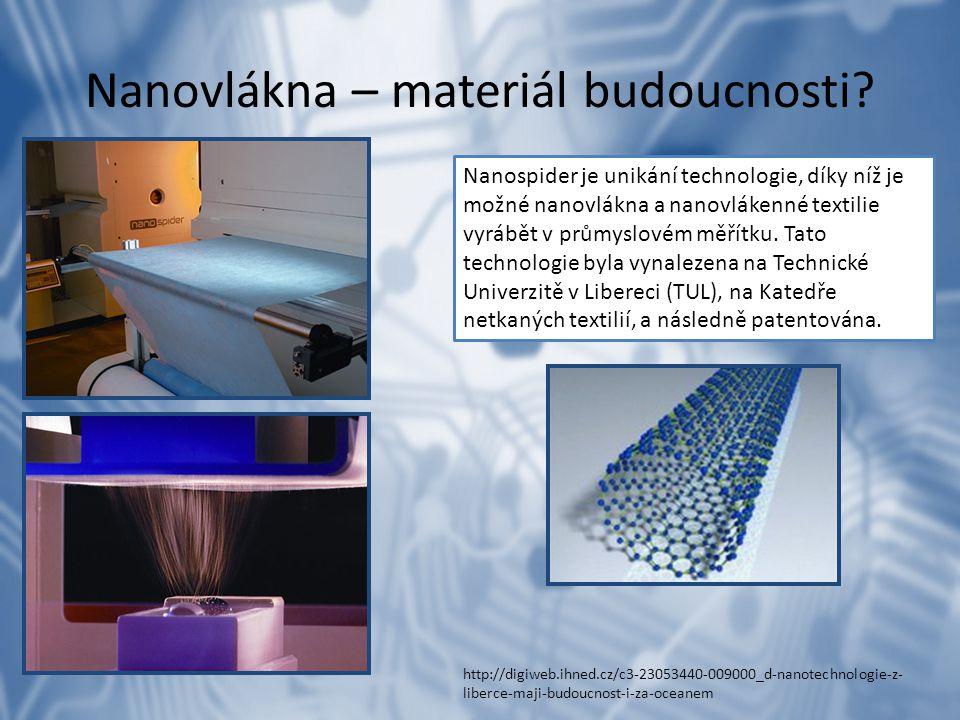 Nanovlákna – materiál budoucnosti? Nanospider je unikání technologie, díky níž je možné nanovlákna a nanovlákenné textilie vyrábět v průmyslovém měřít