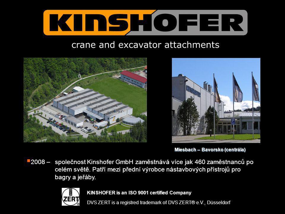  2008 – společnost Kinshofer GmbH zaměstnává více jak 460 zaměstnanců po celém světě. Patří mezi přední výrobce nástavbových přístrojů pro bagry a je