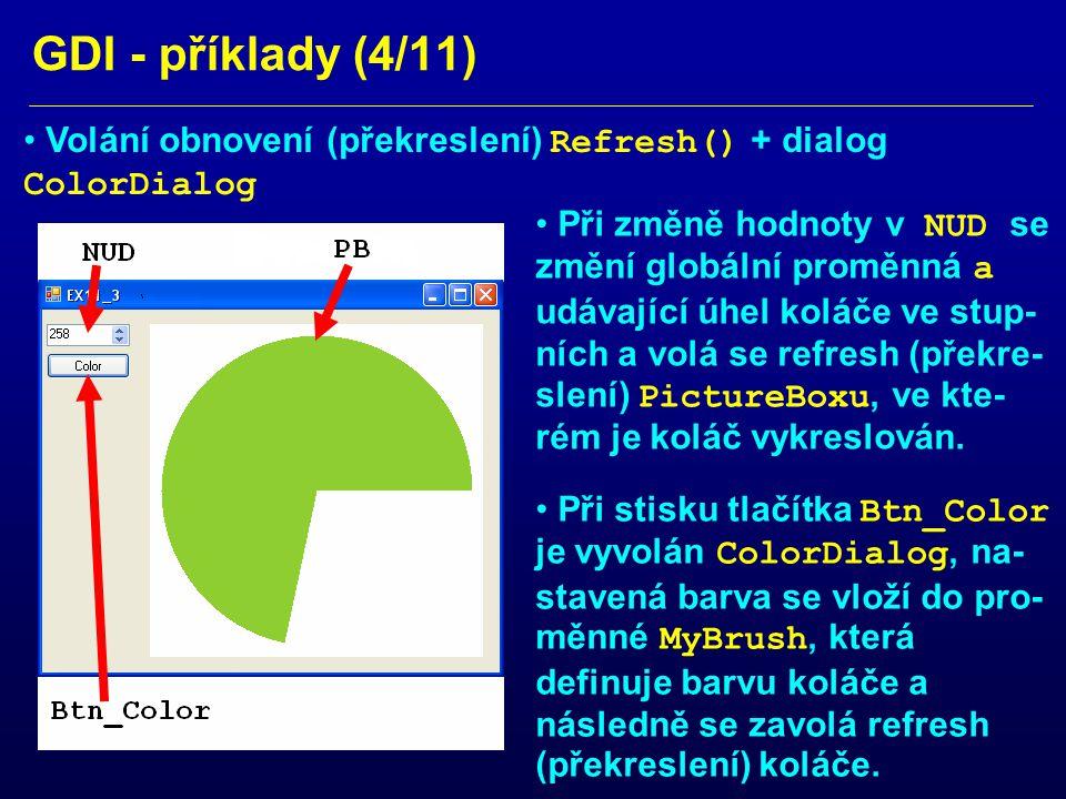 GDI - příklady (4/11) Volání obnovení (překreslení) Refresh() + dialog ColorDialog Při změně hodnoty v NUD se změní globální proměnná a udávající úhel koláče ve stup- ních a volá se refresh (překre- slení) PictureBoxu, ve kte- rém je koláč vykreslován.